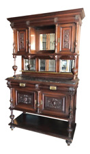 Antique French Marble Top Cupboard Server in Mahogany or Bookcase