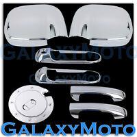 Chrome Mirror+2 Door Handle W/O Passenger KH+GAS Fuel Cover for 02-08 Dodge Ram
