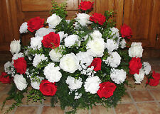 XL Tombstone Saddle Cemetery Memorial Grave Flowers Carnations Red White Roses