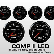 C2 6 Gauge Set, Black Dials, Black Bezels, 73-10 Ohm Fuel Level, 2068BLK