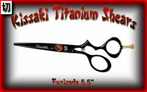 """Kissaki Pro 5.5"""" Furisode Black Titanium Hair Cutting Scissors Salon Hair Shears"""