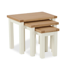 Nest of 3 Side Occasional Tables Oak Top Cream Painted Solid Wood Furniture