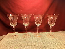 """Very Nice Rumania Crystal Set of 4 Gray Cut Floral Water Goblet 7 5/8"""""""