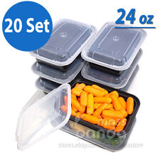 24 oz Meal Prep Containers Lunch Box 20 Set, High Quality Plastic Made in U.S.A.