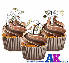 12 X Karate Martial Arts Moves Mix EDIBLE WAFER CUP CAKE TOPPERS STAND UPS