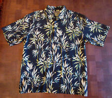 Stunning Tori Richard bamboo leaves black silk Hawaiian shirt LARGE