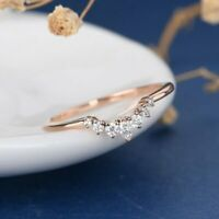 Marquise Round Diamond 14k Rose Gold Over Curved Wedding Guard Enhancer Ring