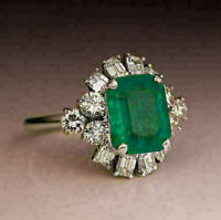 3Ct Green Emerald & Diamond Halo Engagement Ring 14K White Gold Over