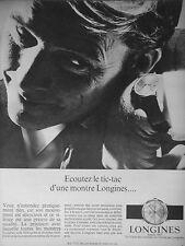 PUBLICITÉ 1966 MONTRE HOMME LONGINES ÉCOUTEZ LE TIC-TAC - ADVERTISING