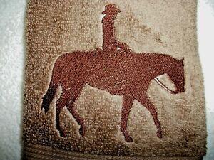 PLEASURE HORSE RIDER DESIGN, EMBROIDERED HAND TOWEL, MS