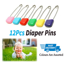 12x NAPPY SAFETY PINS Metal Plastic Craft Scrapbook Sewing Baby diaper 5.5cm