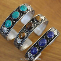 BR043 Vintage Tibetan Silver Lapis Turquoise Stone Bangle Bracelet Craved Dragon
