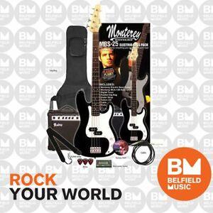 Monterey MBS-25 Bass Guitar Pack Black w/ Amplifier Gigbag & Accessories - BM