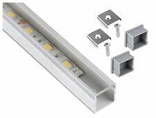 Profil alu anodisé 1m carré set + Couvercle Clair + embout-pour LED Bande