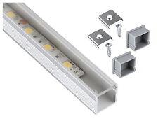 Alu Profil eloxiert 1m Quadrat SET + Abdeckung klar + Endkappe - für LED Band