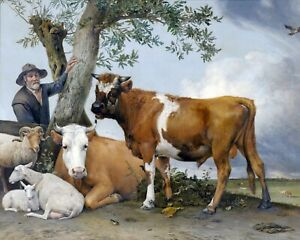 Farmer & His Young Bull Other Farm Animals Oil Painting Canvas Fine Art Print