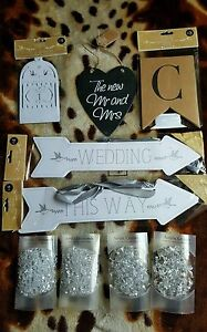 New WEDDING Bundle Table Numbers, Heart Slate, Bunting, Signs Diamond Crystals