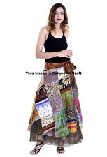 Indian Patchwork Hippie Long Maxi Sarong Satin Silk Wrap Around Women Skirts