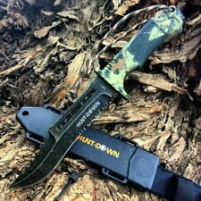 "12"" Carbon Steel Hunting Tactical Fixed Blade Camo Combat Knife Fire Starter"