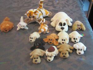 """Vintage lot of 15 Pound Puppies Purrries Newborn 7"""" & 3"""" Kitty Puppy"""