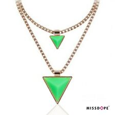 NEW TRIANGLE DUAL GREEN GOLD SPIKE NECKLACE DOUBLE CHAIN BOX WOMENS CHOKERS UK