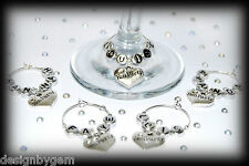 Personalised hen party gifts.  Table ware decorations Hens name on each charm