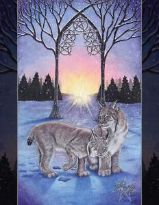 5 of Pentacles Tarot Card Art PRINT Lynx Snow Sunrise Animals Cats Winter Trees