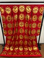 Uchikake Kimono Japanese Wedding Robe Gold processing by Kosaku Akiyama Used
