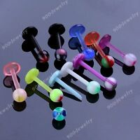 10x Punk Mixed Colorful UV Round Ball 16g Labret Barbell Bar Lip Rings Piercing
