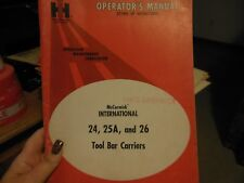 International 24, 25A, 26, 27 and 28 Tool Bar Carriers Operator's Manual