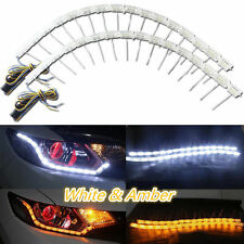2x Switchback LED Strip Lights with Sequential Signal For Headlight Retrofit New
