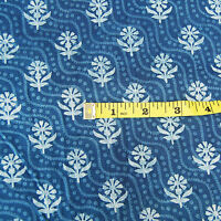 5 Yards Indian Hand Block Print 100% Cotton Fabric Indigo Blue Printed FabricA1