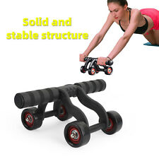 Ab Abdominal 4 Wheel Triple Exercise Workout Roller Home Body Gym Fitness F11
