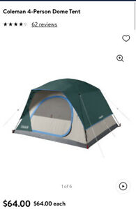 Coleman Skydome 4-Person Evergreen Weathertec Tent Green Easy Set Up Brand New