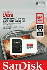 SanDisk 64GB Ultra Micro SD SDXC UHS-I 80MB/S Class 10 Memory Card + Adapter UK