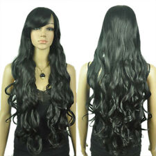 Girl's Extra Long Dark Black Curly Wavy Natural Looking Fibre Hair Costume Wig