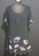 MonoReno Anthropologie Black Blouse Top Sheer Lined Sz Small Wmns Embroidery