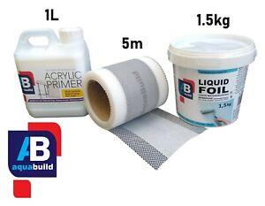 2m² Aqua Build LIQUID FOIL Seal Shower Wet Room System Waterproof Tanking Kit