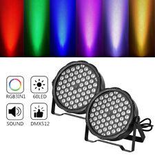 2PCS Stage PAR Light 60 LEDs RGB DMX512 Color Mixing Washer Lamp w/Sound Control