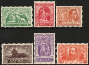 NEW ZEALAND: 1920 Victory Set - Sg 453-458 - Unused No Gum Examples (43101)