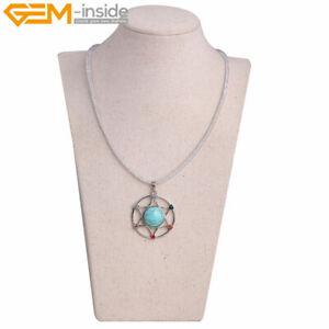 35mm Stones Rhinestone Healing Reiki Charm Chain Pendant Necklace 19'' Gift Lady