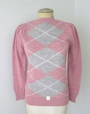 Nos w/Tag Vtg 70s 80s Rose Pink Gray Argyle Acrylic Boat Neck Sweater Puff Slv S