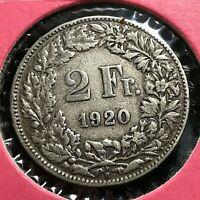 1920 SWITZERLAND SILVER 2 FRANCS COIN BETTER GRADE