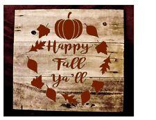 Stencil Happy Fall Ya'll Fall Leaves Autum Thanksgiving Pumpkin Wreath