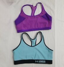 14159464767a9 Under Armour Mid-Impact Sports Bra Lot 2 Racerback XL Compression Blue  Purple