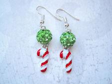 ENAMEL CANDY CANE & GREEN SHAMBALA BEAD CHRISTMAS EARRINGS Xmas Gift Bag Red