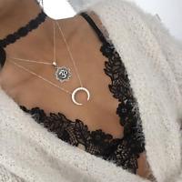 1Pcs Women Fashion Bohemia Boho Silver Chain Lace Choker Moon Pendant Necklace