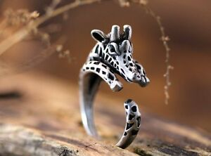 Silver Giraffe Round Knuckle Ring Women Men Retro Jewelry Party Gift  Adjustable