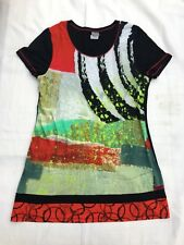 Simply Art To Wear Dolcezza Womens Dress Tunic Shirt Blouse Black Abstract Sz L