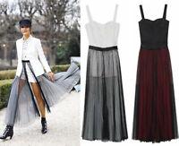 Designer Runway Dotted Tulle Maxi Pleat Sheer Skirt Bustier Playsuit Full Skater